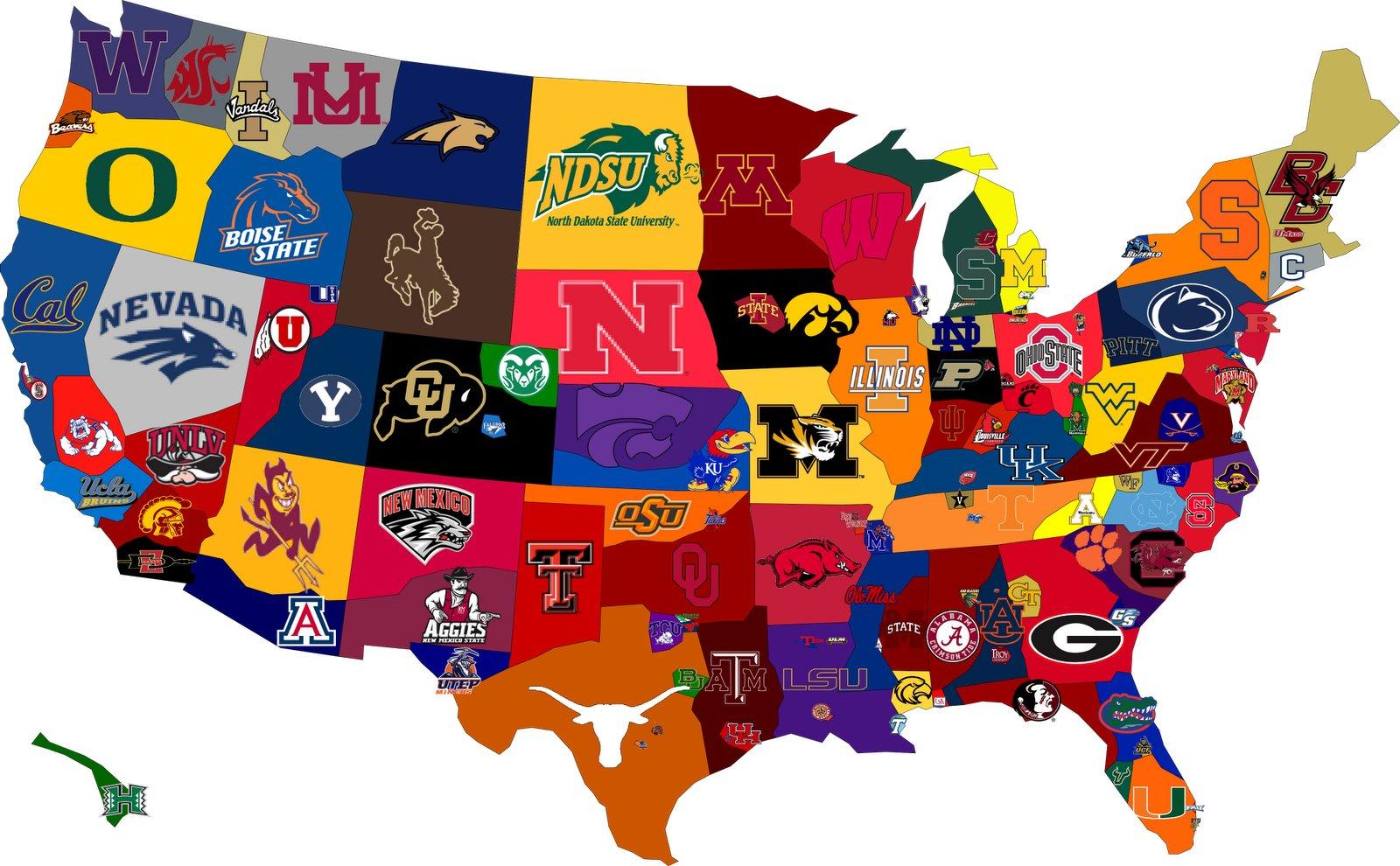 Carte des collèges USA